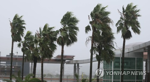 Typhoon Tapah lashes S. Korea with strong winds, heavy rains