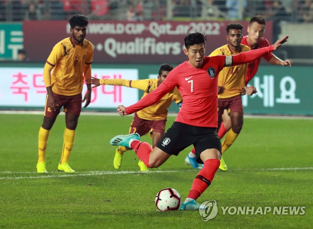 In this file photo from Oct. 10, 2019, Son Heung-min of South Korea takes a penalty against Sri Lanka in the teams' Group H match in the second round of the Asian qualification for the 2022 FIFA World Cup at Hwaseong Sports Complex Main Stadium in Hwaseong, Gyeonggi Province. (Yonhap)