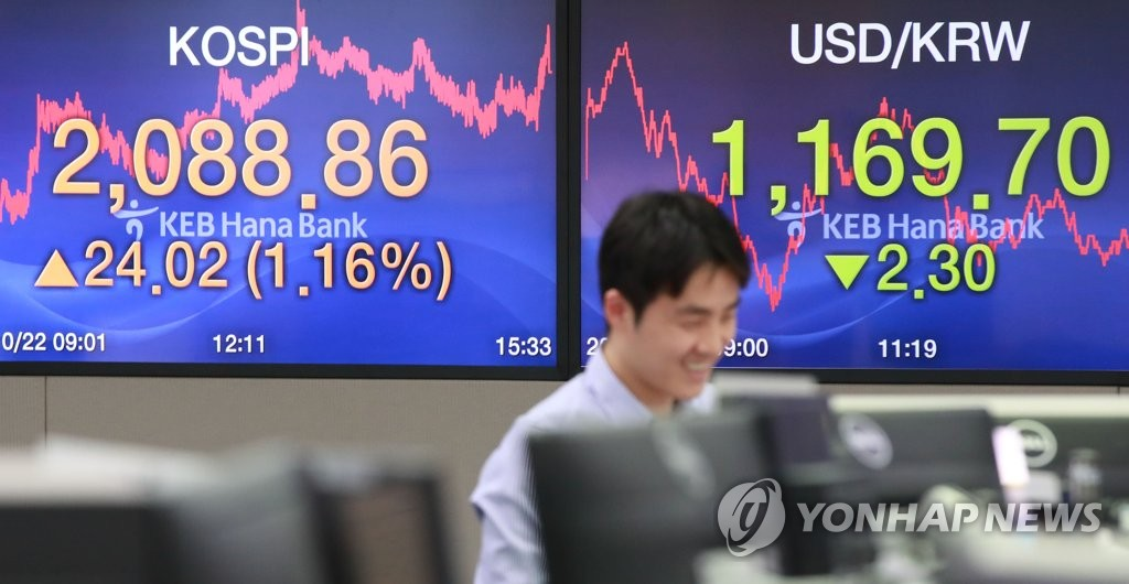 A local stock trader at a local bank in Seoul smiles as the South Korean stock market closed sharply higher on Oct. 22, 2019. The benchmark Korea Composite Stock Price Index (KOSPI) jumped 1.16 percent on the day to breach the 2,080-point mark for the first time since Oct. 16, 2019, when the Bank of Korea slashed the base rate by 25 basis points to match the all-time low of 1.25 percent in a bid to spur growth of Asia's fourth-largest economy. (Yonhap)