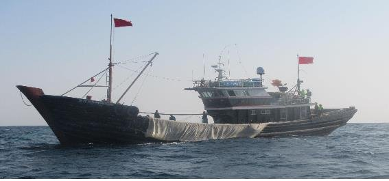 This photo, provided by the fisheries ministry on Nov. 18, 2019, shows one of three Chinese fishing boats that were caught by the Korean Coast Guard while illegally fishing inside South Korean territorial waters in the West Sea from Nov. 16-17. (PHOTO NOT FOR SALE) (Yonhap)