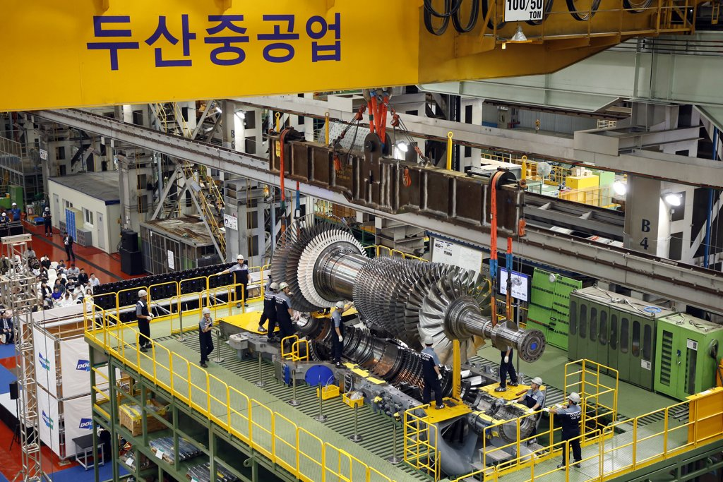 This photo provided by Doosan Heavy Industries & Construction Co. shows a gas turbine developed by the company. (PHOTO NOT FOR SALE) (Yonhap)