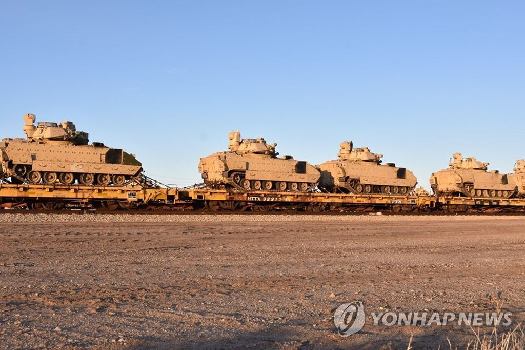 The 2nd Armored Brigade Combat Team of the 1st Infantry Division transports its heavy equipment in preparation for its upcoming rotational deployment to South Korea in this photo posted on Facebook by the unit on Jan. 10, 2020. (PHOTO NOT FOR SALE) (Yonhap)