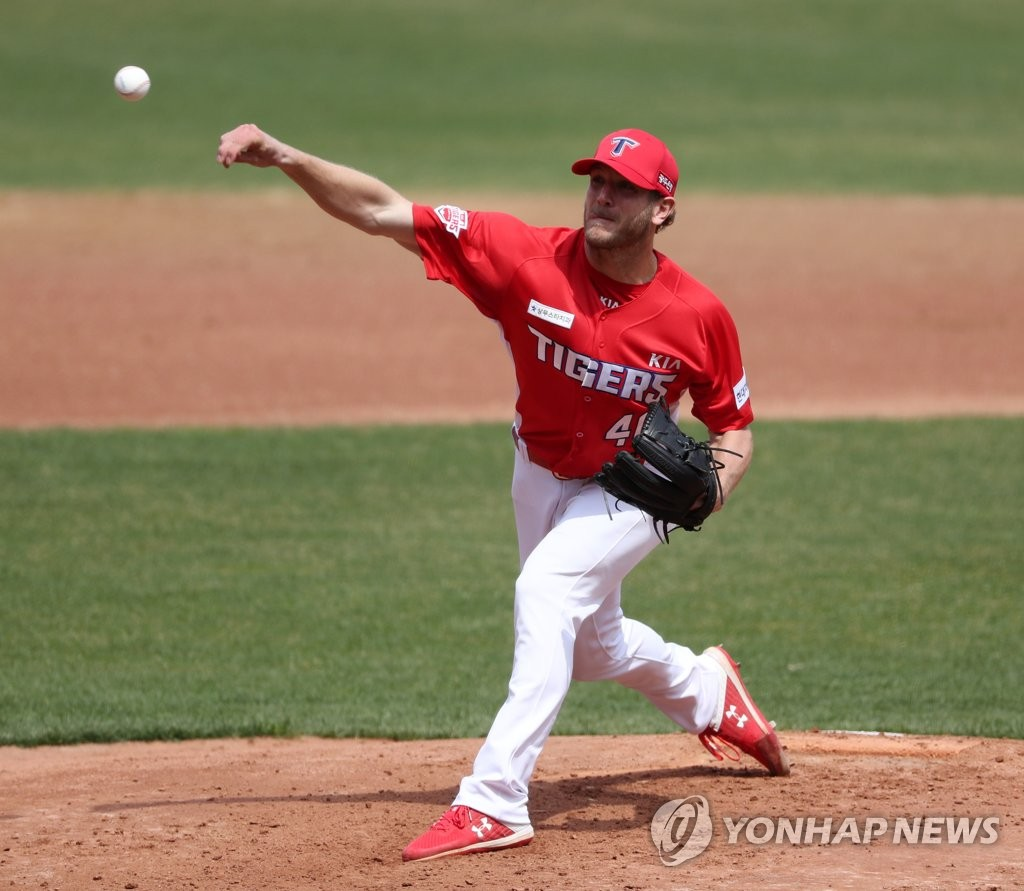 In this file photo from March 31, 2020, Drew Gagnon of the Kia Tigers pitches in an intrasquad game at Gwangju-Kia Champions Field in Gwangju, 330 kilometers south of Seoul. (Yonhap)
