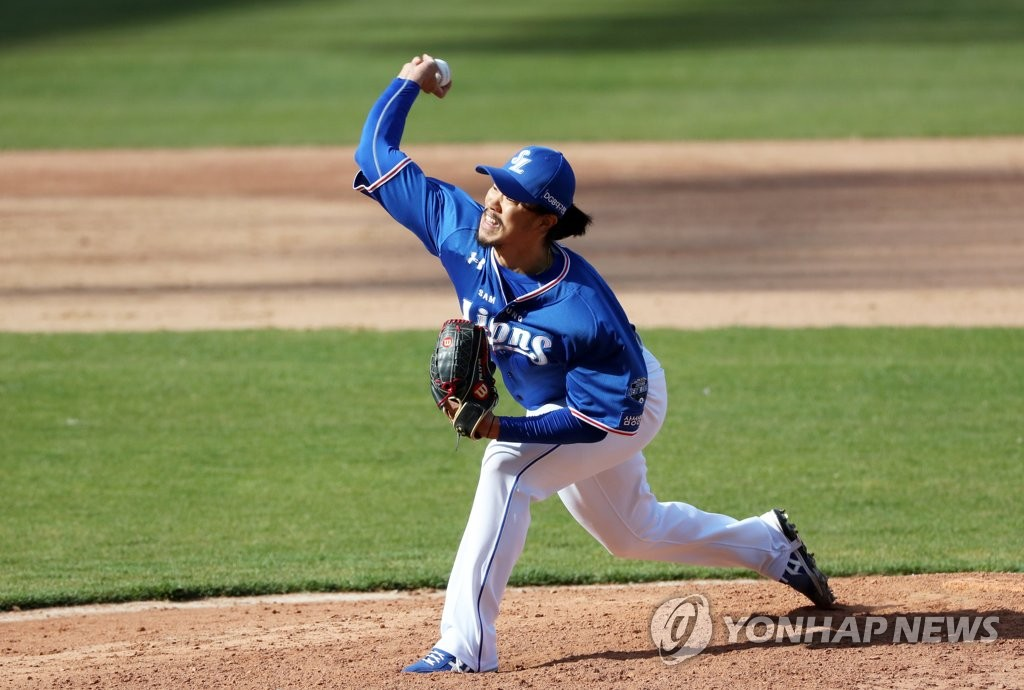 In this file photo, from April 21, 2020, Jang Pill-joon of the Samsung Lions pitches against the Kia Tigers in a Korea Baseball Organization preseason game at Gwangju-Kia Champions Field in Gwangju, 330 kilometers south of Seoul. (Yonhap)