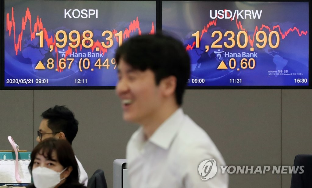 Currency dealers work in the dealing room of Hana Bank in Seoul on May 21, 2020. The benchmark Korea Composite Stock Price Index (KOSPI) added 8.67 points, or 0.44 percent, to close at 1,998.31. (Yonhap)