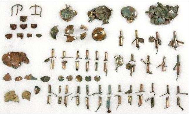 This undated photo, released by the Cultural Heritage Administration on May 27, 2020, shows a variety of horse ornaments that South Korean archaeologists unearthed from the Hwangnamdong Tumulus No. 120-2 from the Silla Kingdom (57 B.C.-A.D. 935) in the ancient city of Gyeongju, southeastern South Korea. (PHOTO NOT FOR SALE) (Yonhap)