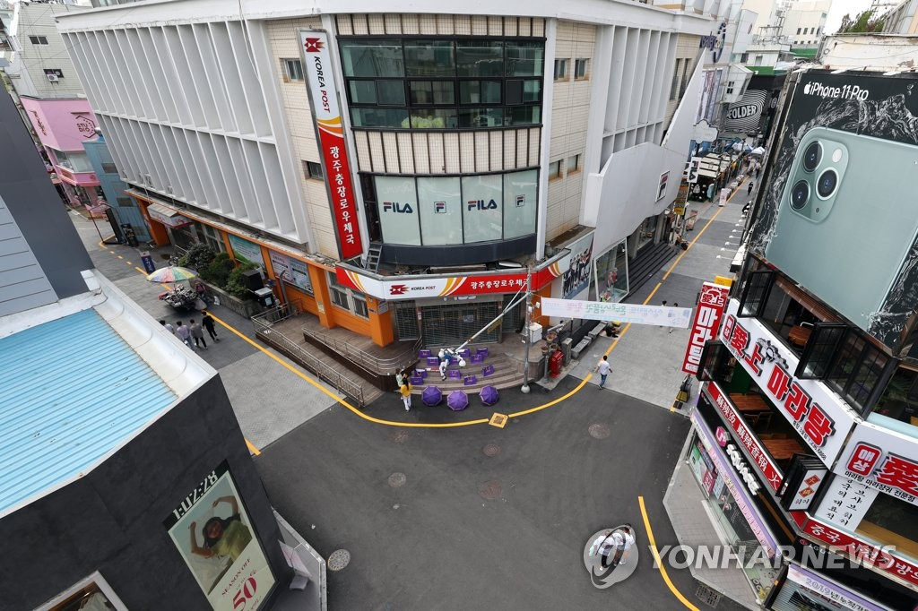 Streets of Gwangju, located 330 kilometers south of Seoul, remain empty on July 5, 2020, as people refrained from going outside due to the city's uptick in new coronavirus cases. (Yonhap)