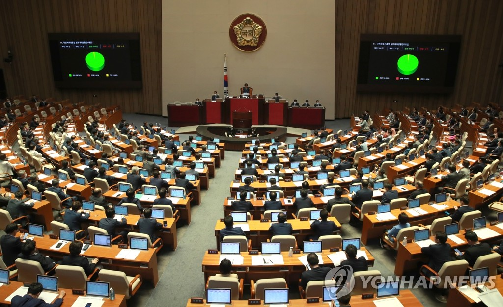 This file photo shows lawmakers attending a National Assembly session in Seoul. (Yonhap)