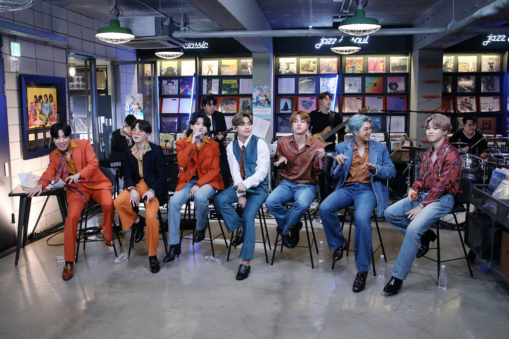 This photo, provided by Big Hit Entertainment on Sept. 21, 2020, shows K-pop group BTS performing on the Tiny Desk Concert show on National Public Radio in the United States. (PHOTO NOT FOR SALE) (Yonhap)