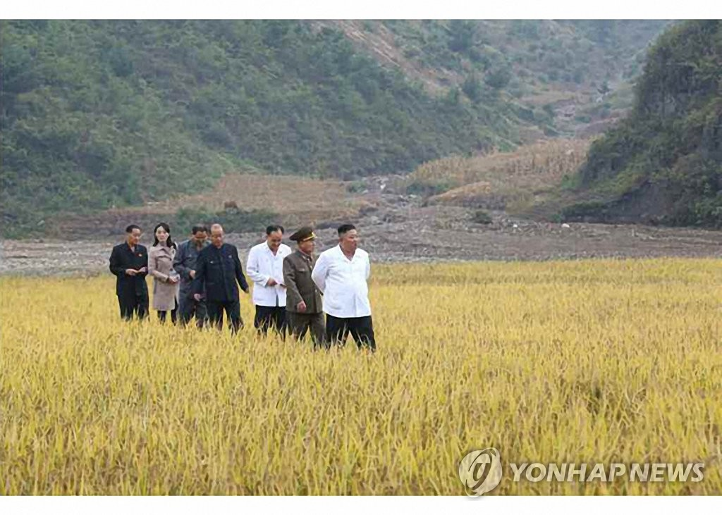 North Korean leader Kim Jong-un (R) visits a rice paddy in the central border county of Kimhwa, Gangwon Province, in this photo provided by the Rodong Sinmun on Oct. 2, 2020. He was accompanied by Kim Yo-jong (2nd from L), his younger sister and first vice department director of the ruling Workers' Party's Central Committee. (For Use Only in the Republic of Korea. No Redistribution) (Yonhap)