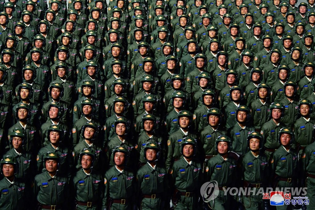 This photo released by the Korean Central News Agency shows North Korean soldiers during a military parade held at Kim Il-sung Square in Pyongyang on Oct. 10, 2020, to mark the 75th founding anniversary of the Workers' Party. (For Use Only in the Republic of Korea. No Redistribution) (Yonhap)