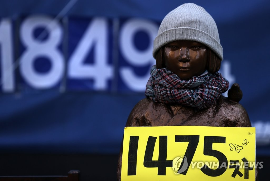 This photo, taken on Jan. 20, 2021, shows a statue symbolyzing victims of Japan's wartime sexual slavery in front of the Japanese Embassy in Seoul. (Yonhap)