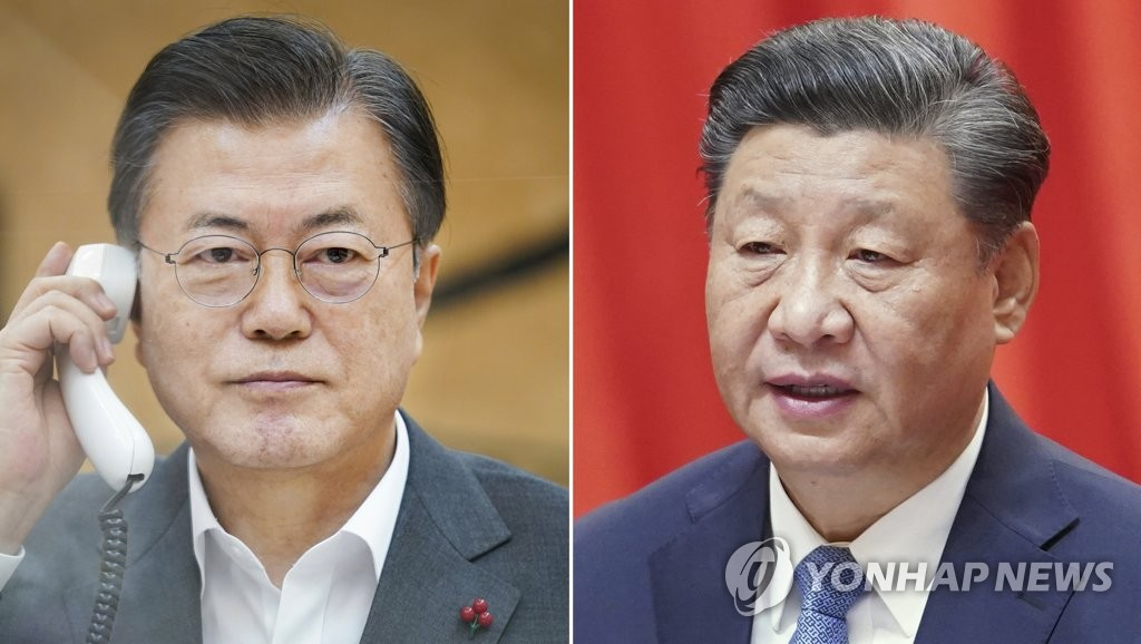 President Moon Jae-in (L) in a photo provided by Cheong Wa Dae, and President Xi Jinping in a file photo (PHOTO NOT FOR SALE) (Yonhap)
