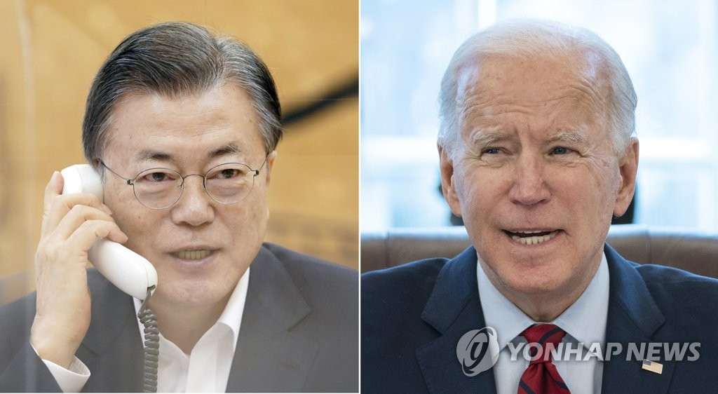 South Korean President Moon Jae-in (L) in a photo provided by Cheong Wa Dae and an Associated Press file photo of U.S. President Joe Biden (PHOTO NOT FOR SALE) (Yonhap)
