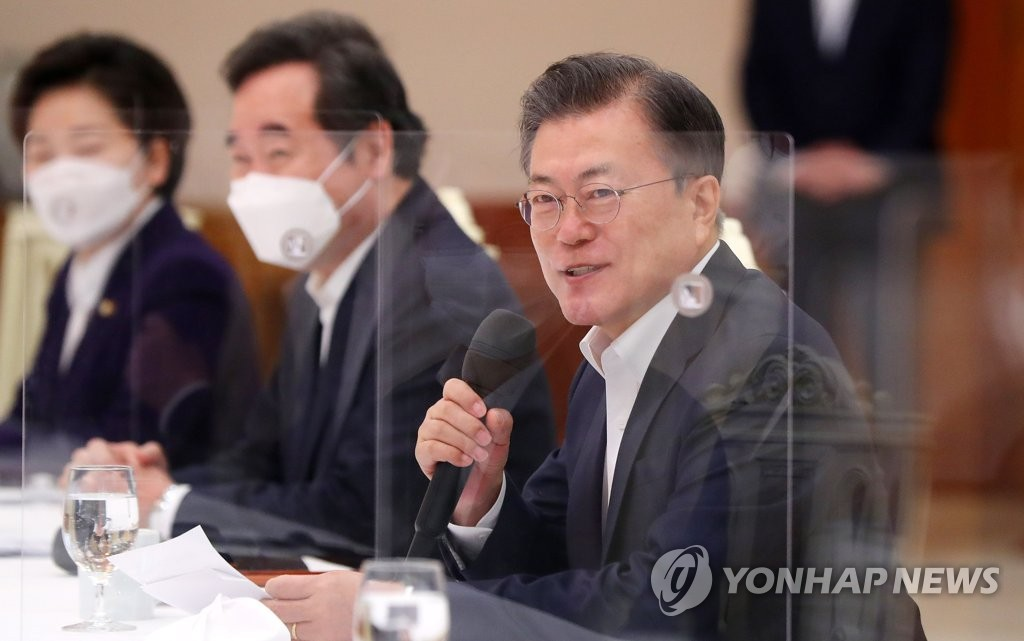 President Moon Jae-in speaks during a meeting with ruling Democratic Party leaders at Cheong Wa Dae in Seoul on Feb. 19, 2021. (Yonhap)