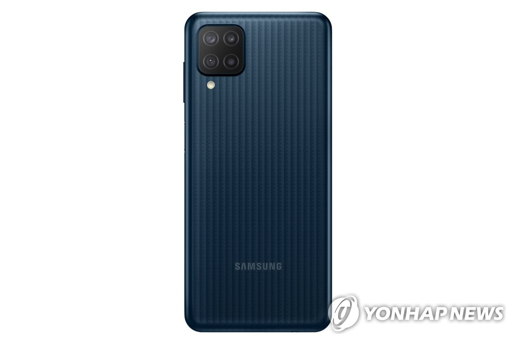 This photo provided by Samsung Electronics Co. on April 26, 2021, shows the Galaxy M12 smartphone. (PHOTO NOT FOR SALE) (Yonhap)