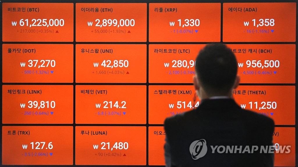 This April 26, 2021, photo shows an electronic signboard at the cryptocurrency exchange Bithumb in Seoul. (Yonhap)
