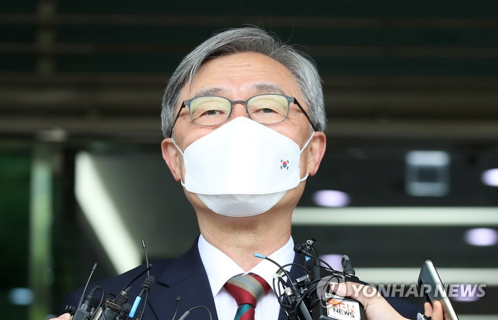 Choe Jae-hyeong, chairman of the Board of Audit and Inspection (BAI), speaks to reporters in front of the BAI headquarters in Seoul on June 28, 2021. (Yonhap)